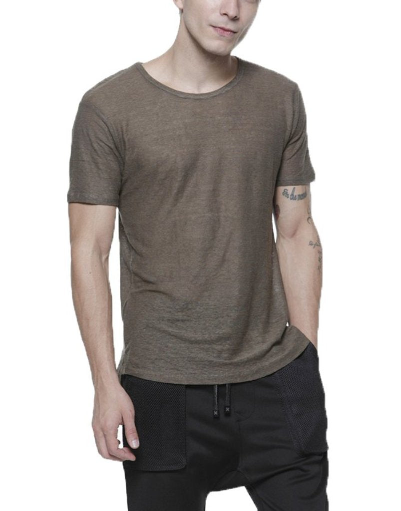 LINEN TEE / OLIVE - HIP AND BONE