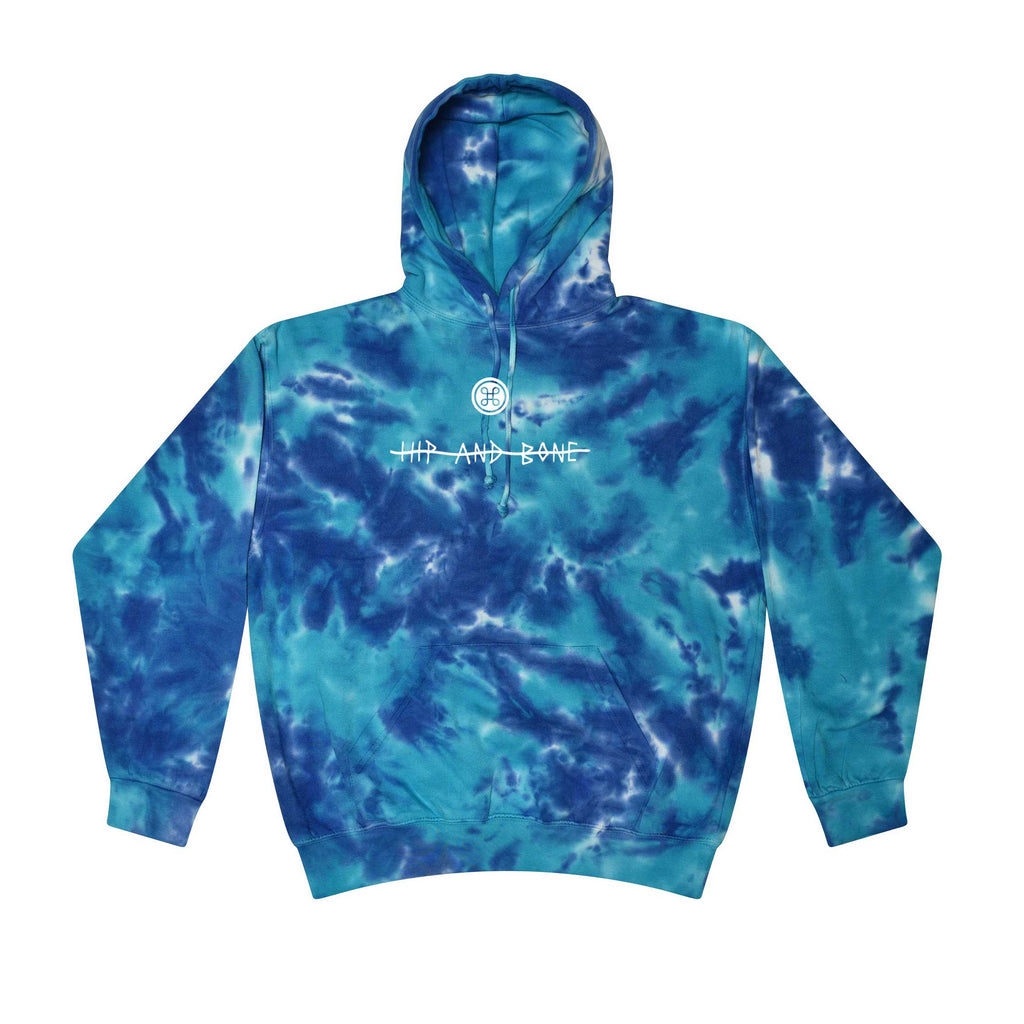 SPOT TIE DYE HOODIE MULTI BLUE - HIP AND BONE