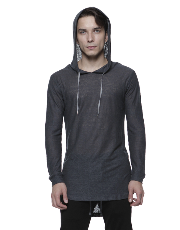 LINEN HOODIE / CHARCOAL | Tops | HIP AND BONE