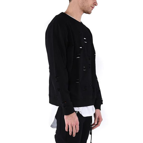 LEATHER SLEEVE PARKA / BLACK