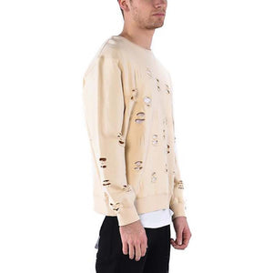 DISTRESSED RIPPED SWEATSHIRT / SAND