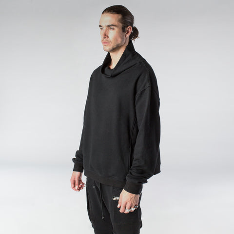ZIP TURTLENECK SWEATSHIRT / BLACK