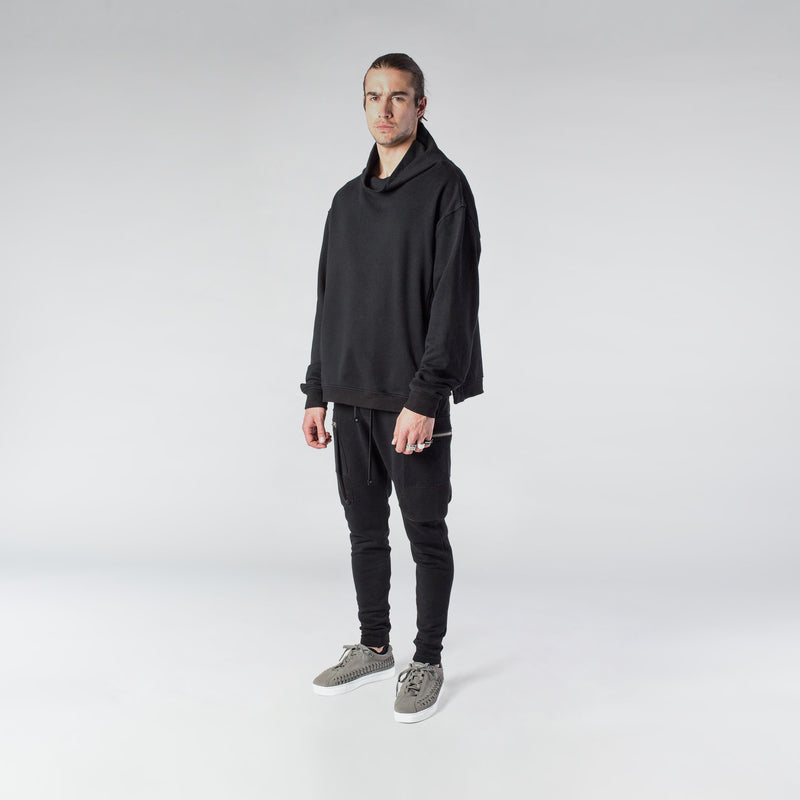ZIP TURTLENECK SWEATSHIRT / BLACK - HIP AND BONE