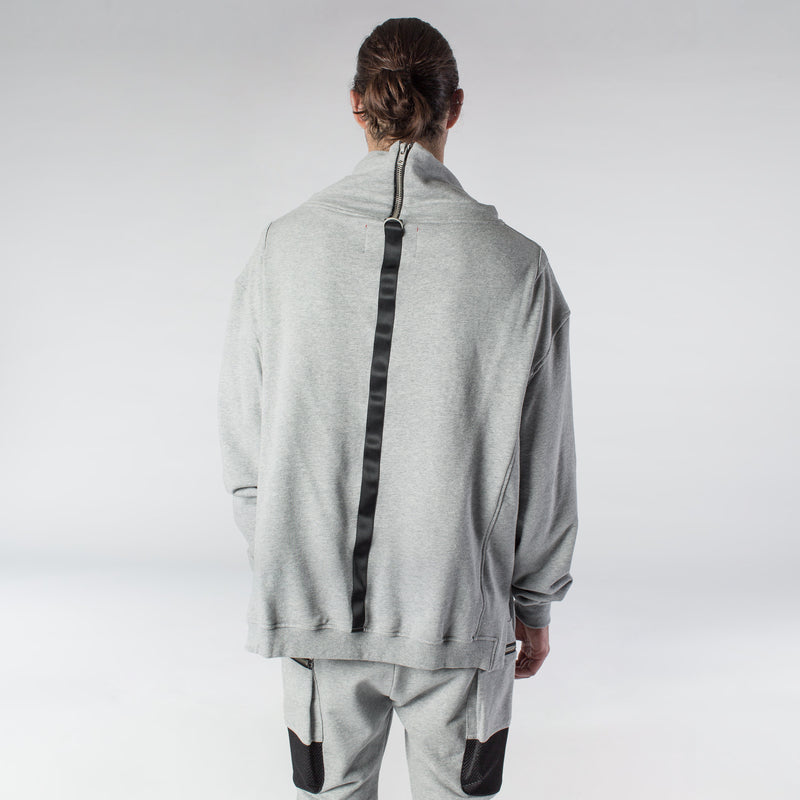 ZIP TURTLENECK SWEATSHIRT / GREY