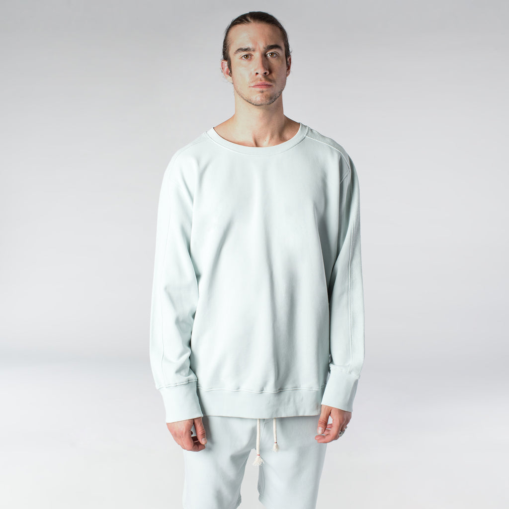 TERRY PASTEL CREW / MINT BLUE - HIP AND BONE