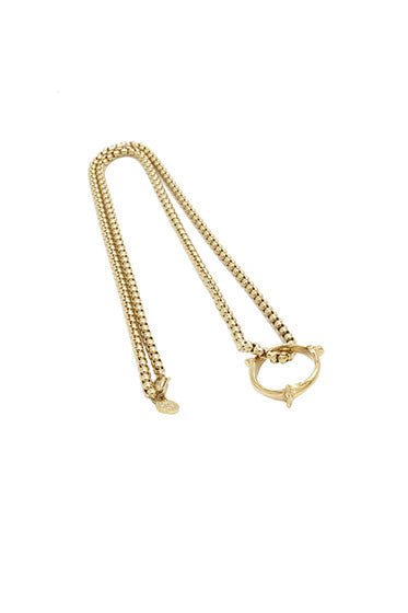 BONE RING AND CHAIN PENDANT - GOLD - HIP AND BONE