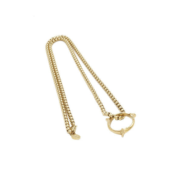 BONE RING AND CHAIN PENDANT - GOLD