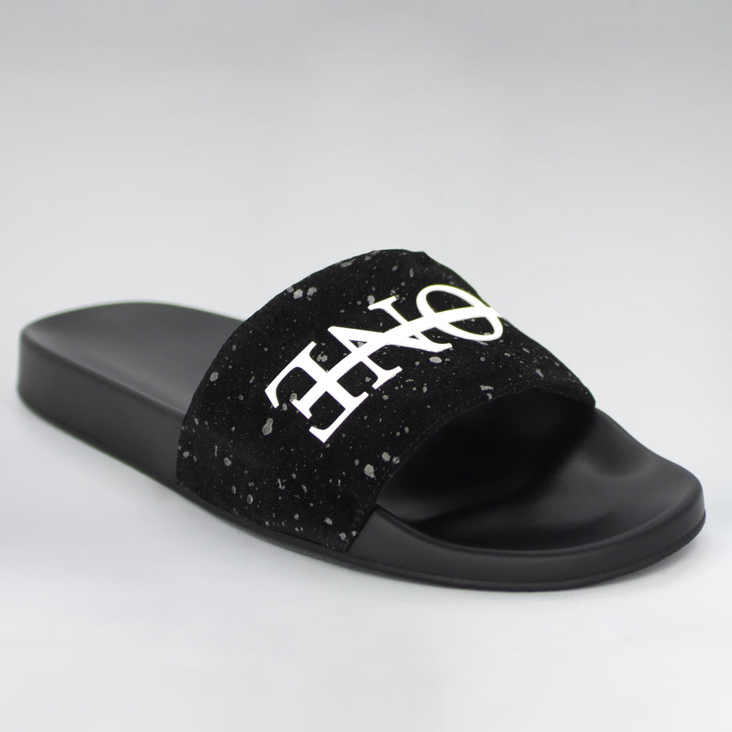 HB BLACK PEBBLE SUEDE SLIDES - HIP AND BONE