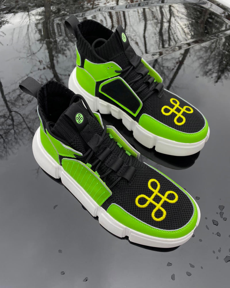 BLOCK SHOE BLACK SAFETY GREEN NIGHT EDITION | Shoes | HIP AND BONE