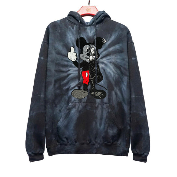 TWISTED MOUSE EMBROIDERED PATCH TIE DYE HOODIE SPIDER BLACK | Tops | HIP AND BONE