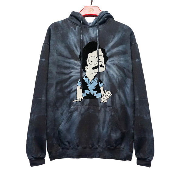 ESCOBART EMBROIDERED PATCH TIE DYE HOODIE SPIDER BLACK | Tops | HIP AND BONE