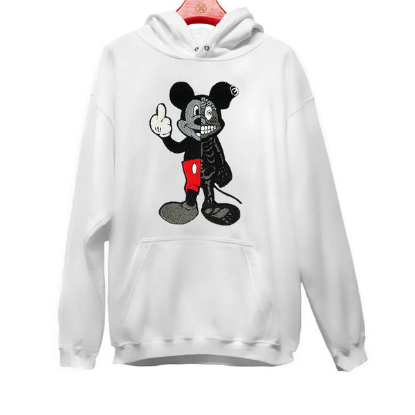 TWISTED MOUSE EMBROIDERED PATCH HOODIE WHITE | Tops | HIP AND BONE