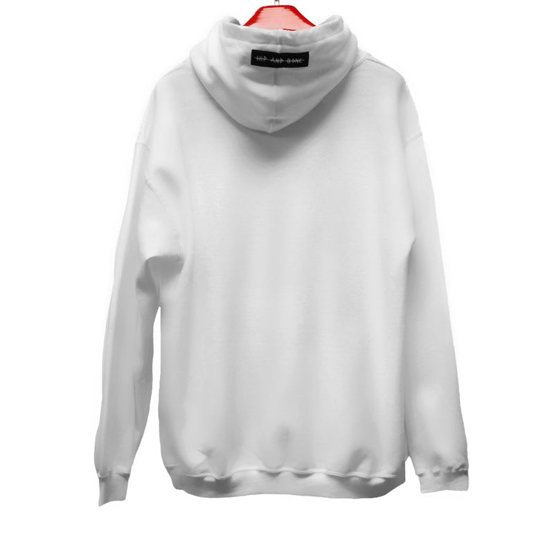 ESCOBART EMBROIDERED PATCH HOODIE WHITE | Tops | HIP AND BONE