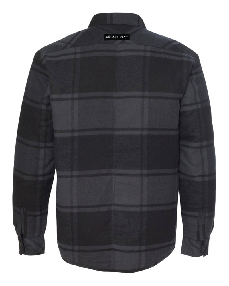 QUILTED FLANNEL SHIRT BLACK PLAID