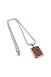 CROC LEATHER DOG TAG AND SILVER CHAIN