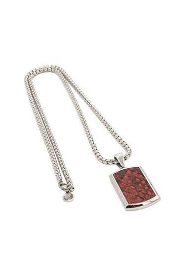 CROC LEATHER DOG TAG AND SILVER CHAIN - RED