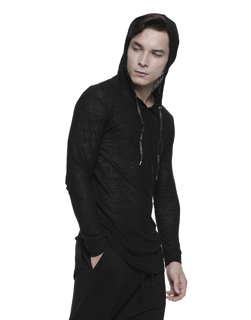LINEN HOODIE / BLACK - HIP AND BONE