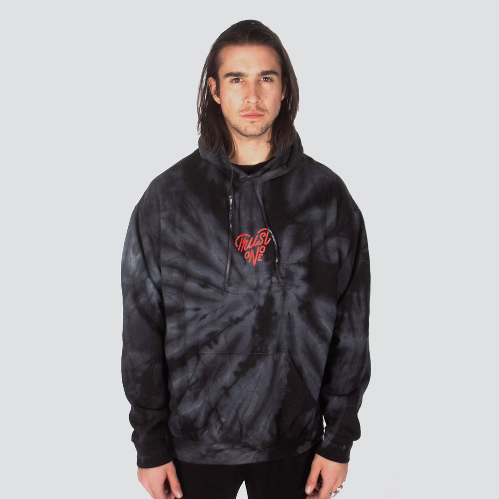 TRUST ONE TIE DYE HOODIE BLACK - HIP AND BONE
