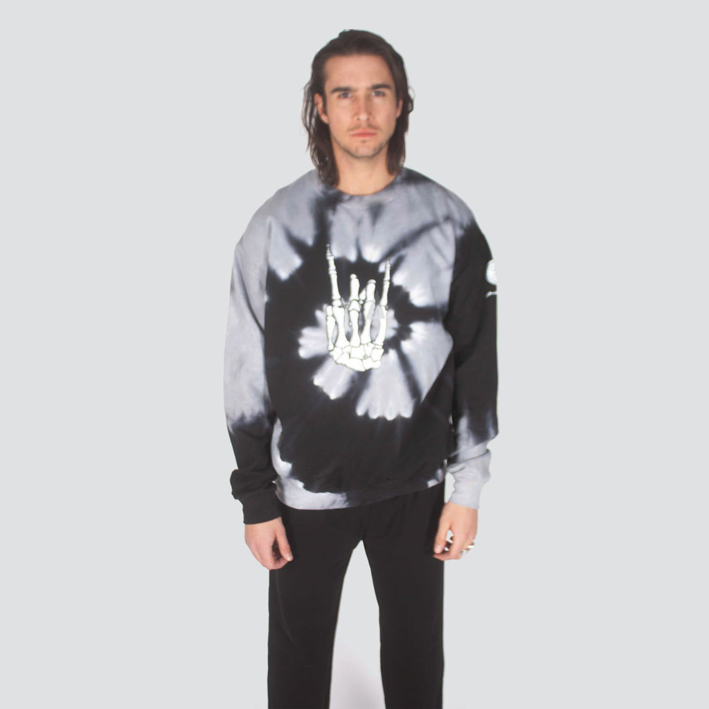TIE DYE ROCKER HAND CREW BLACK GREY