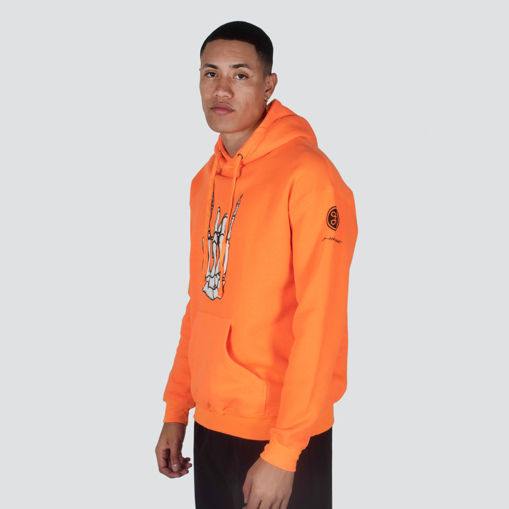 NEON ROCKER HAND PULLOVER HOODIE SAFETY ORANGE