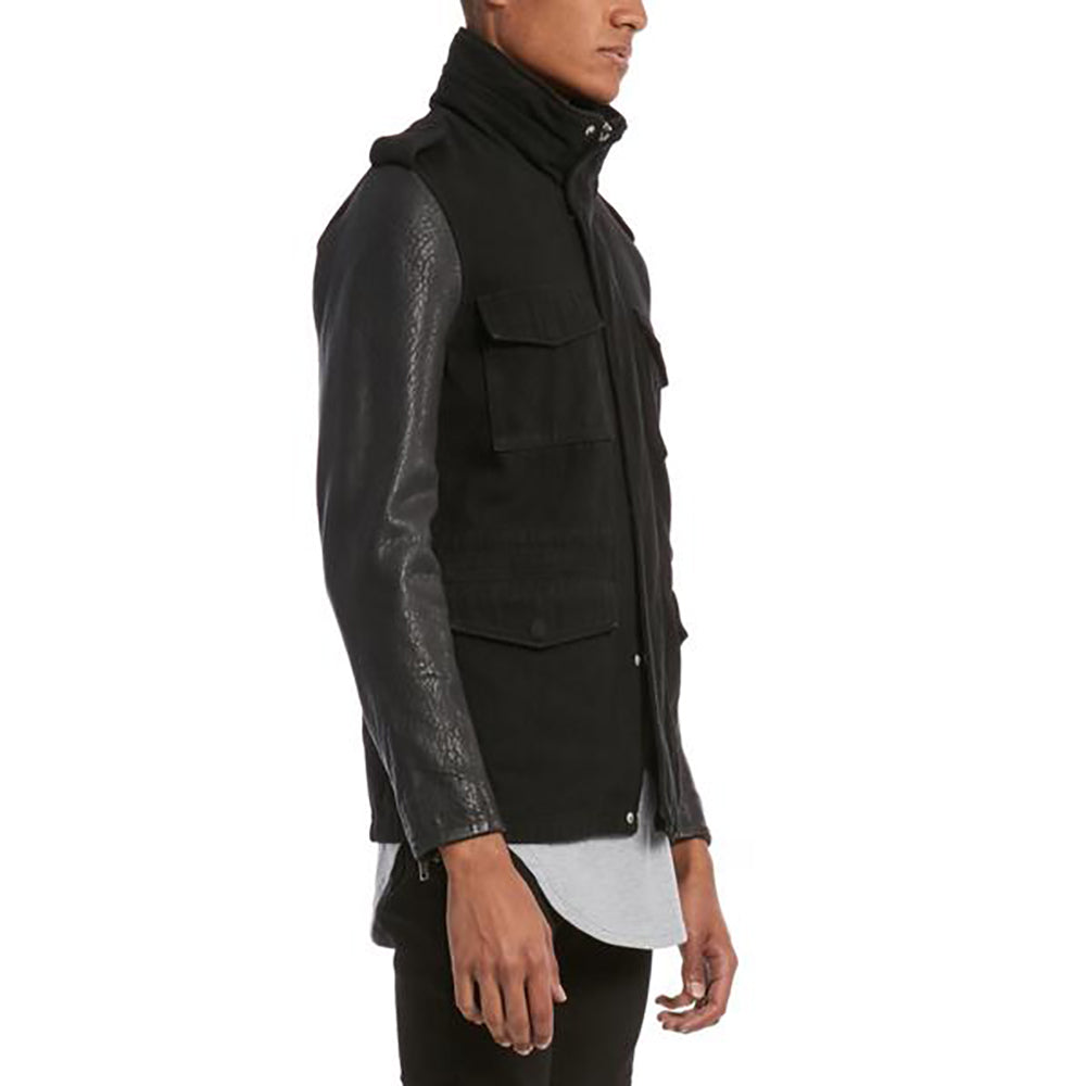 LEATHER SLEEVE PARKA / BLACK - HIP AND BONE