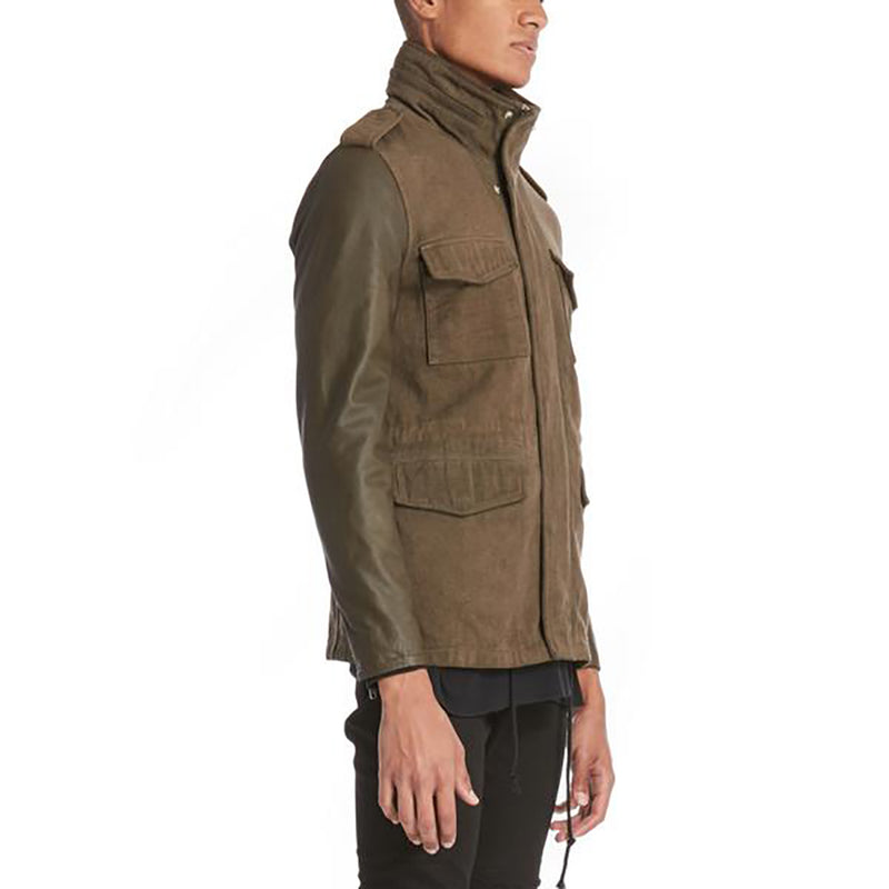 LEATHER SLEEVE PARKA / OLIVE LEATHER