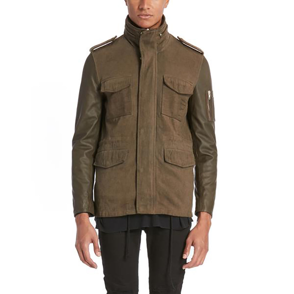 LEATHER SLEEVE PARKA / OLIVE LEATHER - HIP AND BONE