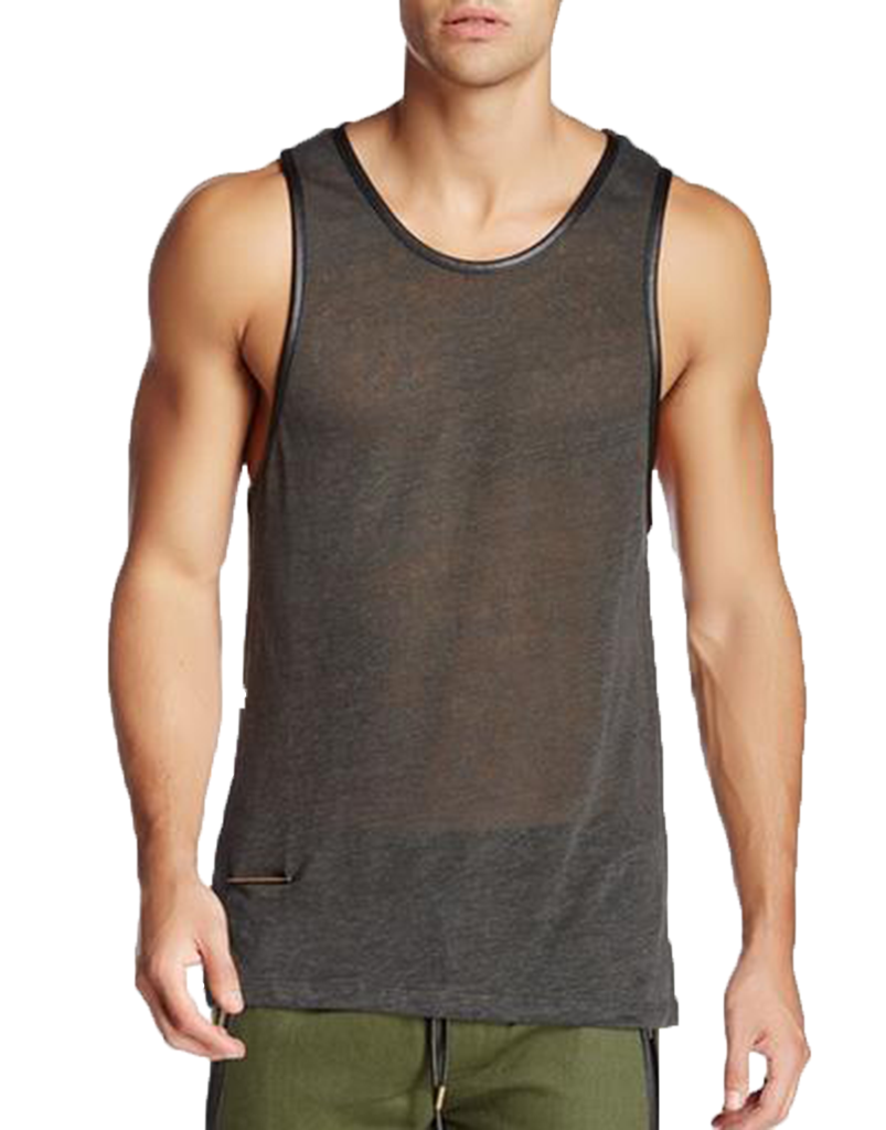 LINEN LEATHER TRIM TANK / CHARCOAL