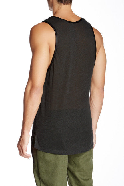 LINEN LEATHER TRIM TANK / BLACK