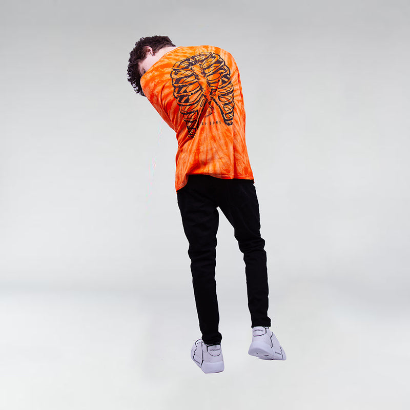 TIE DYE LONG SLEEVE TEE NEON ORANGE - HIP AND BONE