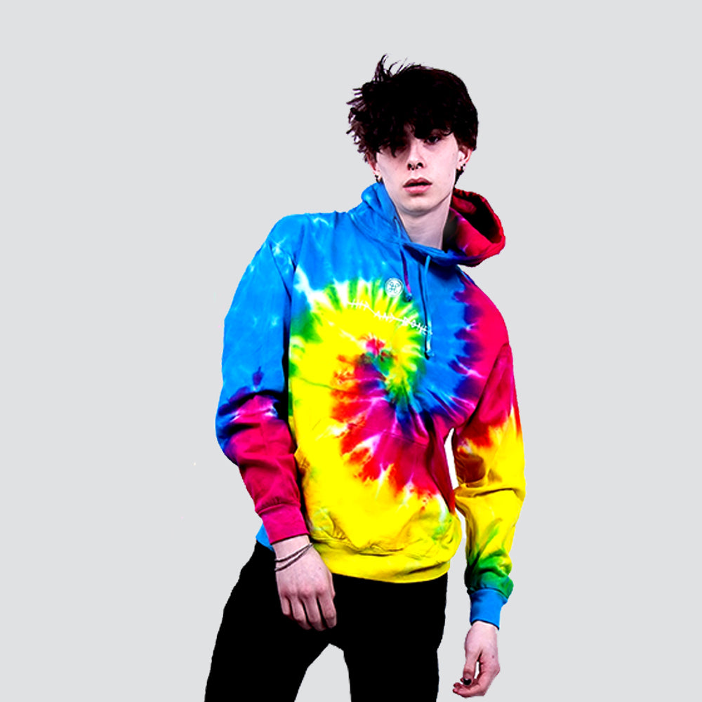 DEAD WRONG TIE DYE SPIRAL RAINBOW HOODIE - HIP AND BONE