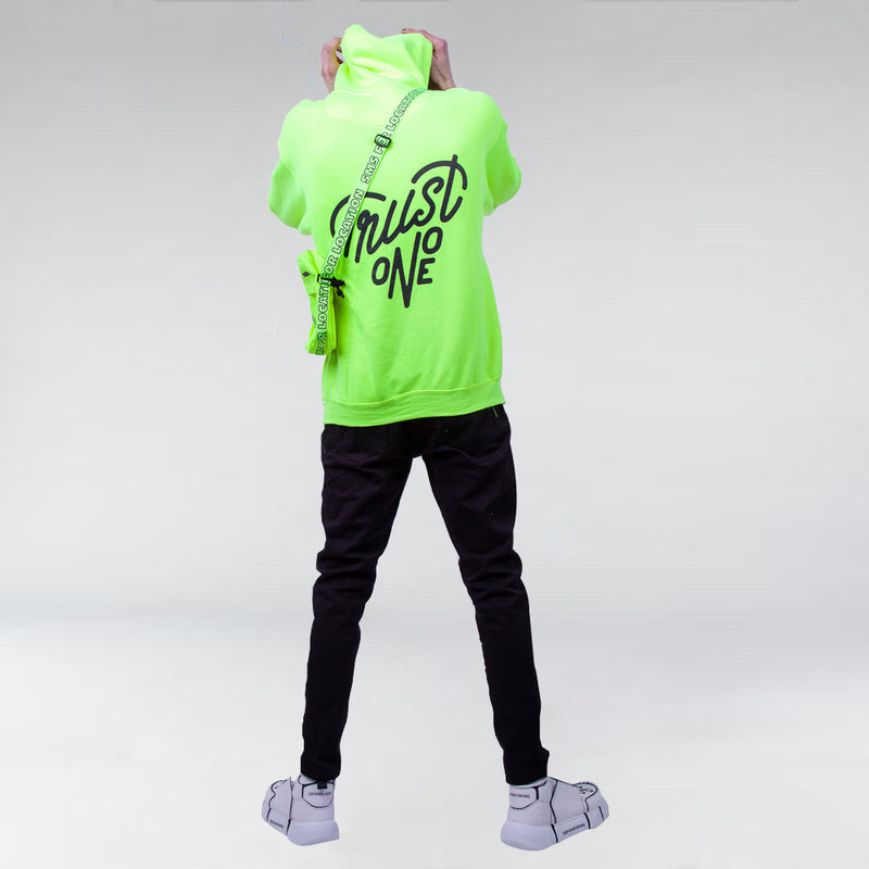 NEON TRUST ONE PULLOVER HOODIE SAFETY GREEN - HIP AND BONE