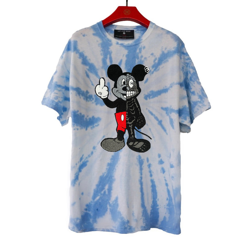 TWISTED MOUSE EMBROIDERED PATCH TIE DYE TEE LIGHT BLUE | Tops | HIP AND BONE