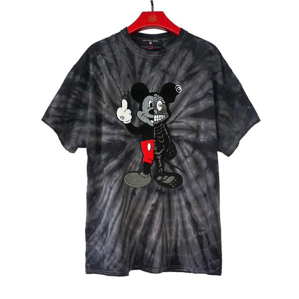 TWISTED MOUSE EMBROIDERED PATCH TIE DYE TEE SPIDER BLACK | Tops | HIP AND BONE