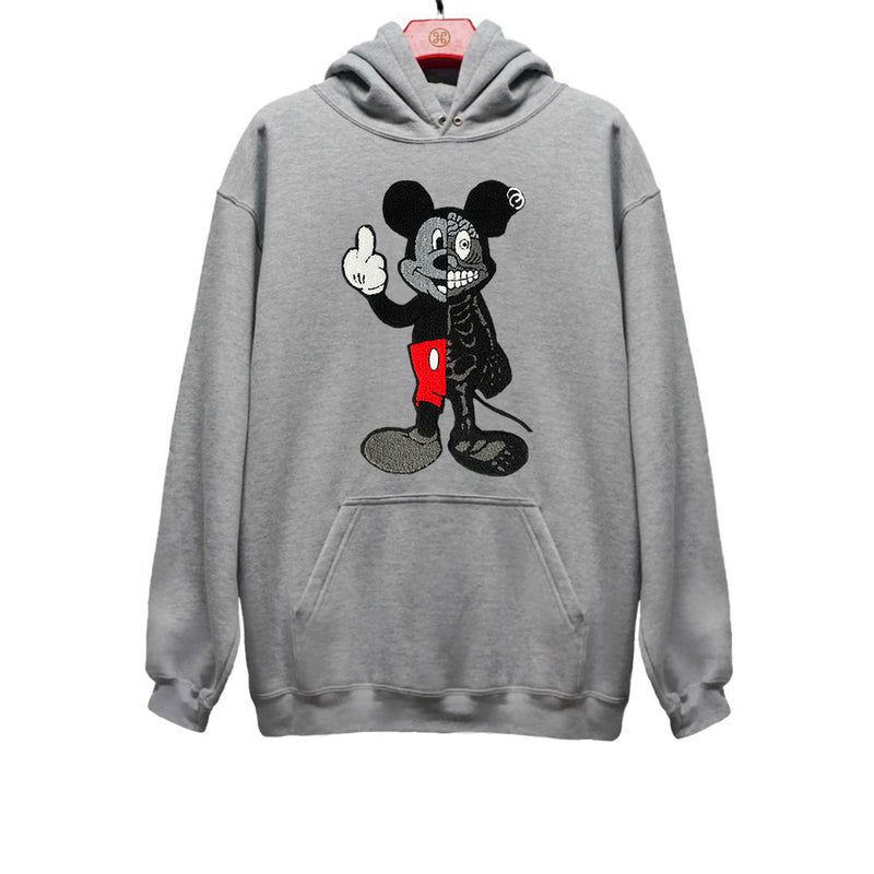 TWISTED MOUSE EMBROIDERED PATCH HOODIE GREY | Tops | HIP AND BONE