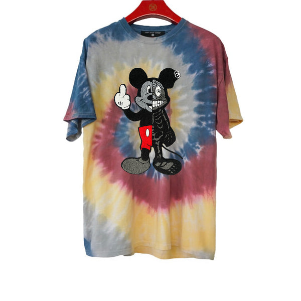 TWISTED MOUSE EMBROIDERED PATCH TIE DYE TEE LOTUS | Tops | HIP AND BONE