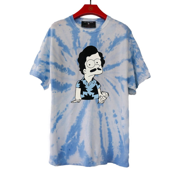 ESCOBART EMBROIDERED PATCH TIE DYE TEE LIGHT BLUE | Tops | HIP AND BONE