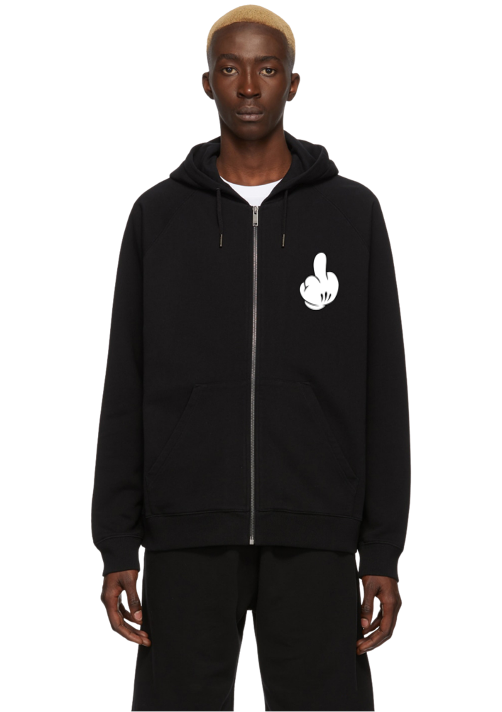 TWISTED MOUSE ZIP UP HOODIE BLACK