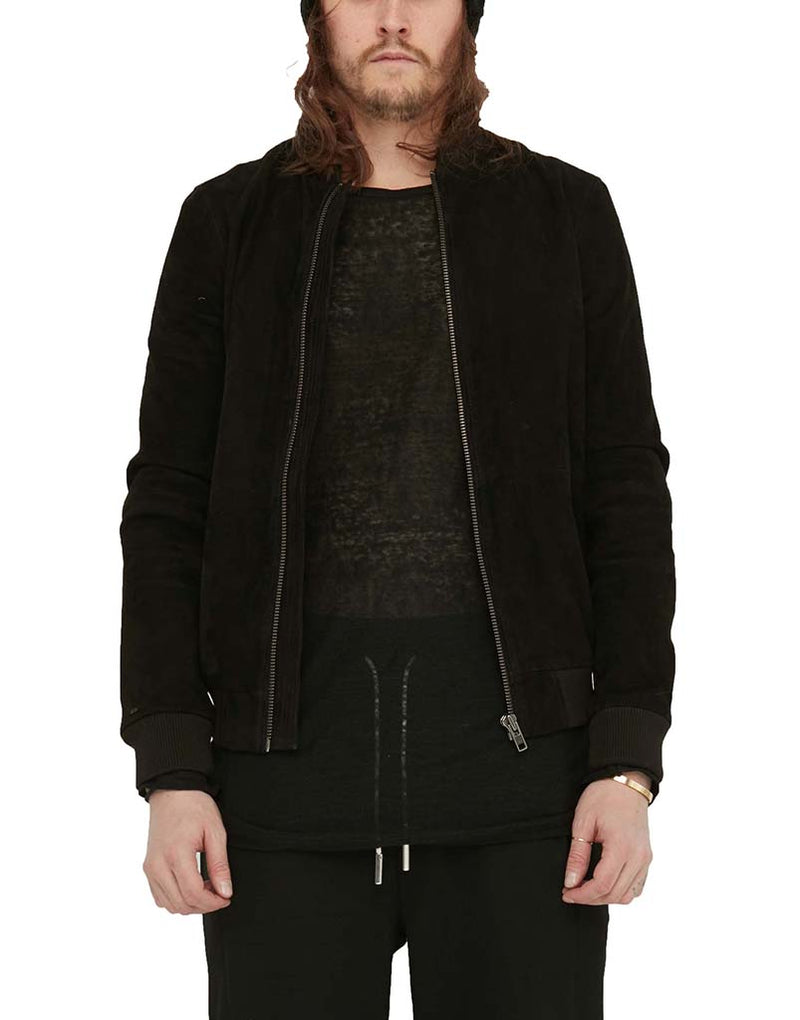 SUEDE BOMBER / BLACK | Tops | HIP AND BONE