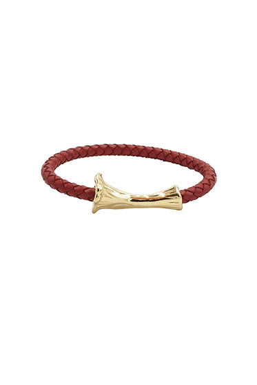 GOLD BONE LEATHER BRACELET RED