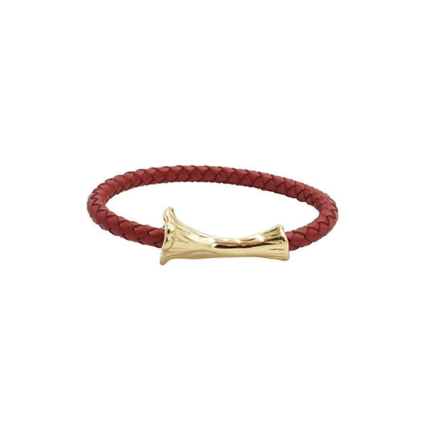 GOLD BONE LEATHER BRACELET - RED
