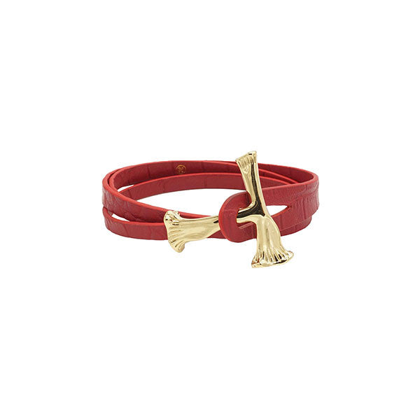 GOLD BONE WRAP CROC LEATHER BRACELET - RED - HIP AND BONE