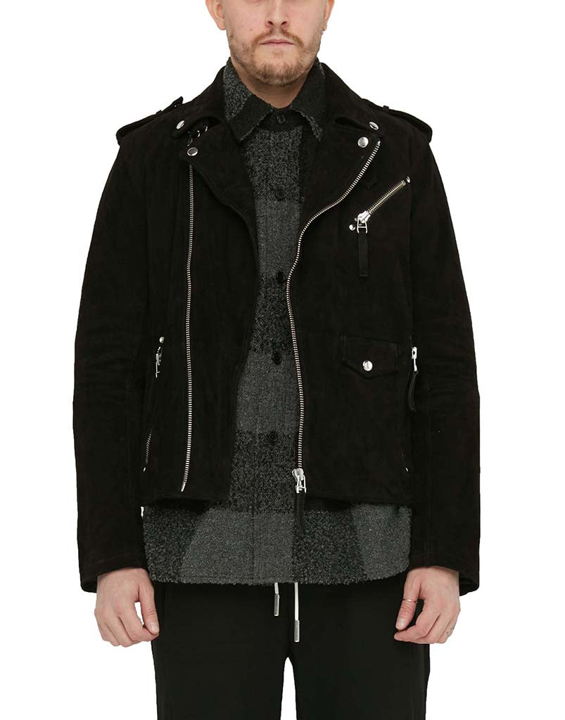 SUEDE BIKER JACKET / BLACK