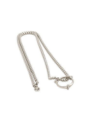 BONE RING AND CHAIN PENDANT - SILVER