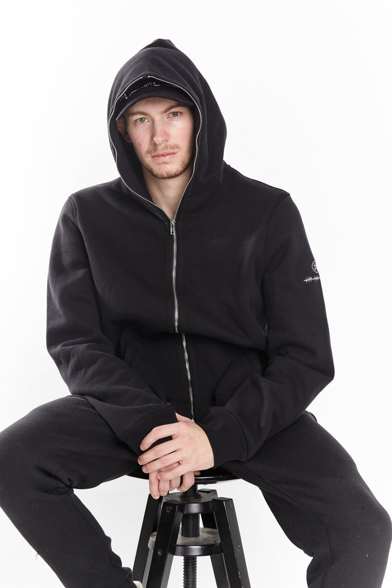 SOFTEST ZIP UP HOODIE EVER ESSENTIALS BLACK - HIP AND BONE