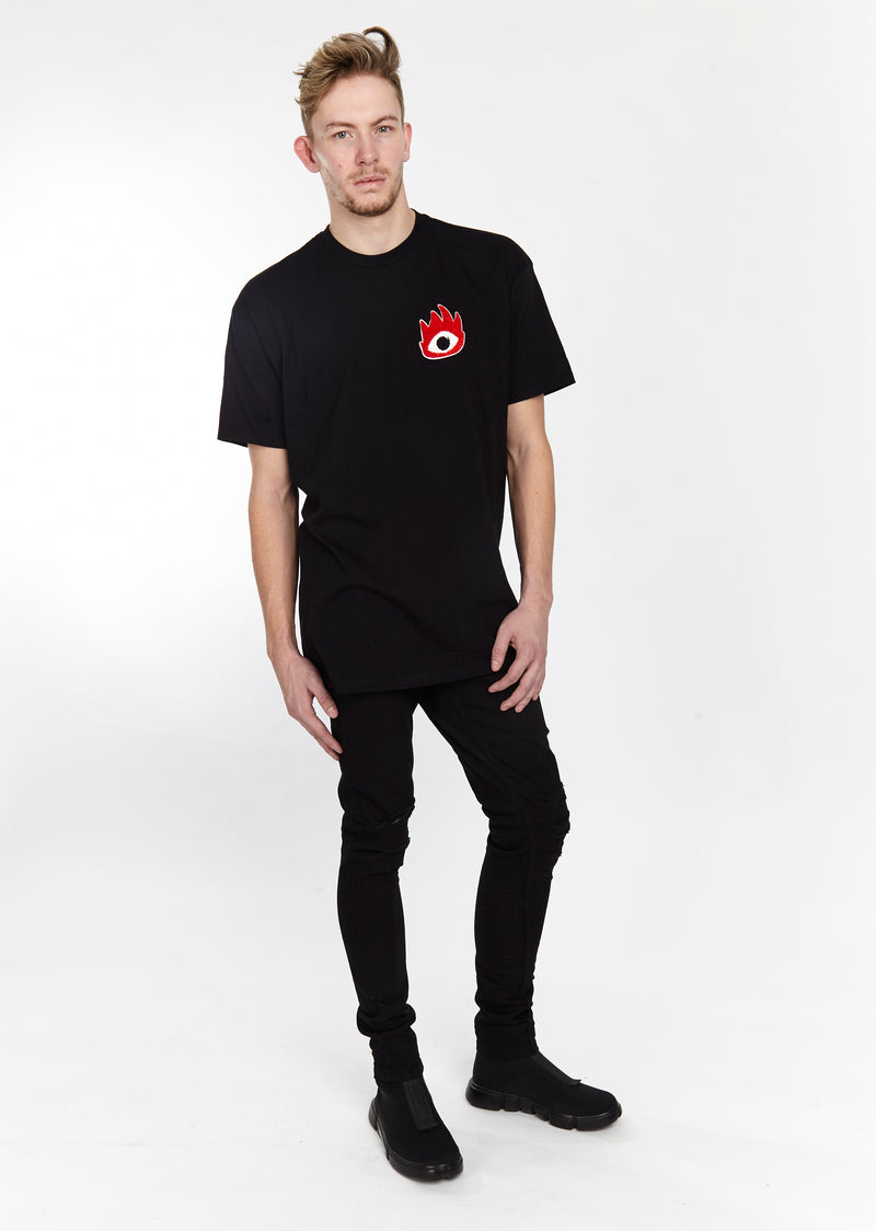 FIRE EYE TEE BLACK - HIP AND BONE