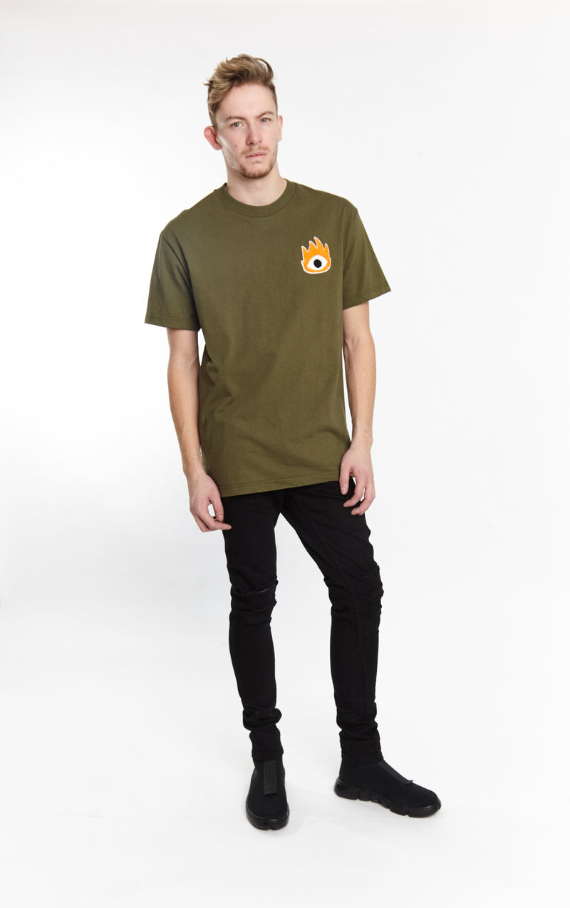 FIRE EYE TEE ARMY GREEN | Tops | HIP AND BONE