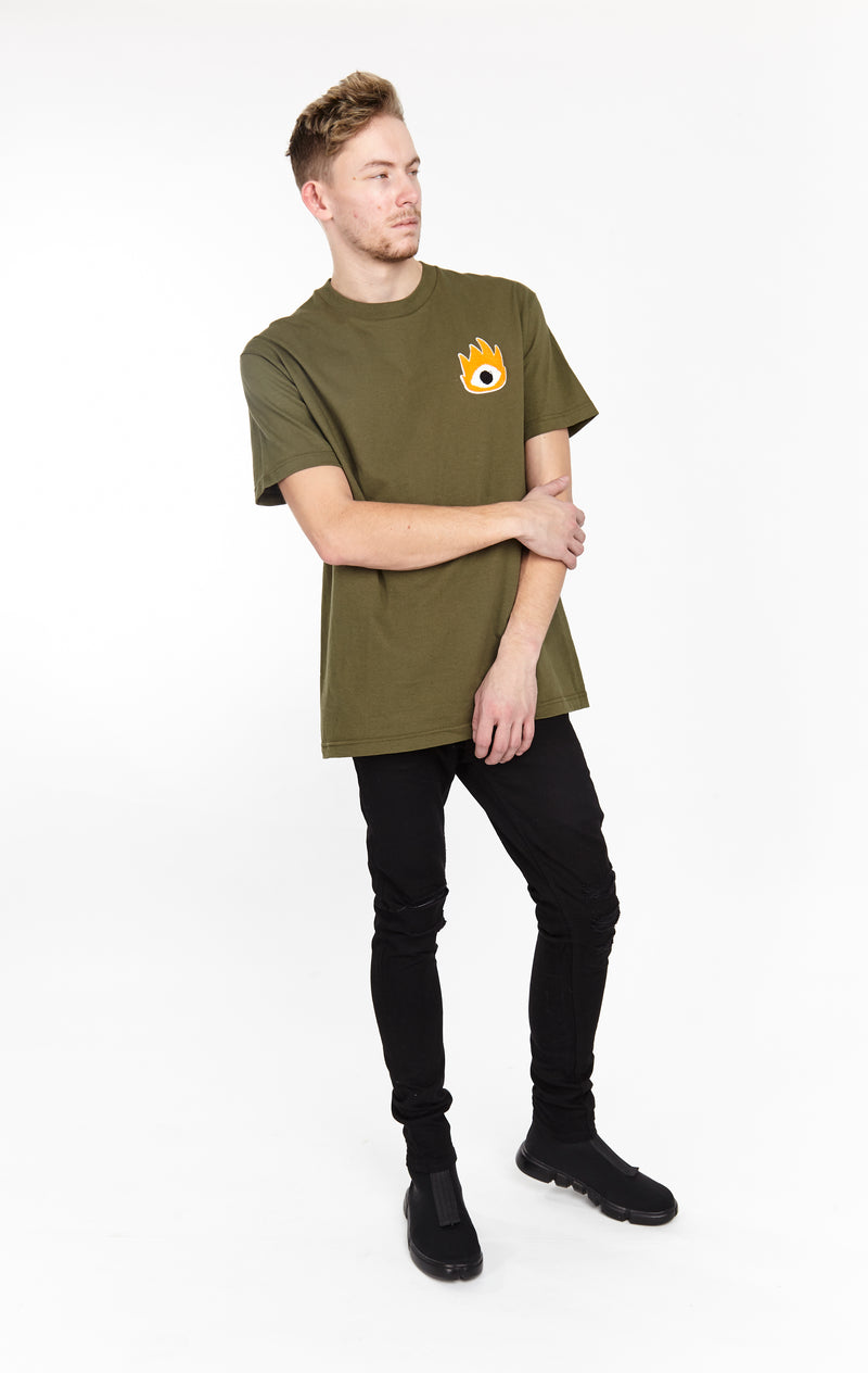 FIRE EYE TEE ARMY GREEN - HIP AND BONE