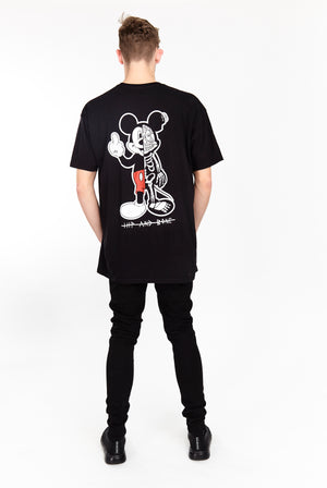 TWISTED MOUSE TEE BLACK - HIP AND BONE