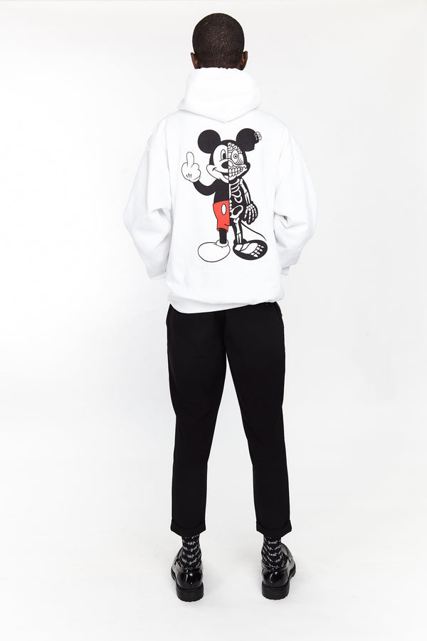 TWISTED MOUSE HOODIE WHITE | Tops | HIP AND BONE